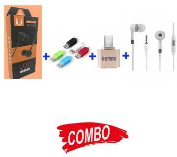 BMI-U30 UNIVERSEL EAR PHONE+MI-HEADPHONE-REPLICA-582+OTG CARD READER+REMAM OTG USB 2.0 ADAPTER Combo
