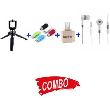 MI-HEADPHONE-REPLICA-582+OTG CARD READER+REMAM OTG USB 2.0 ADAPTER+tripod-228 stand pad Combo