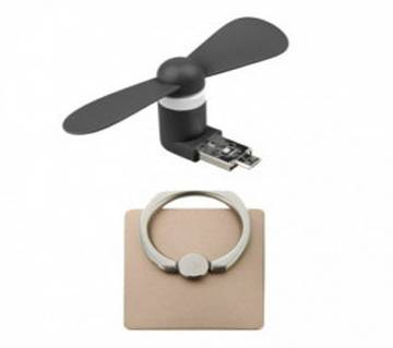 Combo of Micro USB Fan & Ring Stand