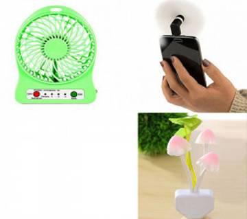 Combo Of SENSOR Night Lamp+Universal Mini Rechargeable Fan+Portable Micro USB Fan