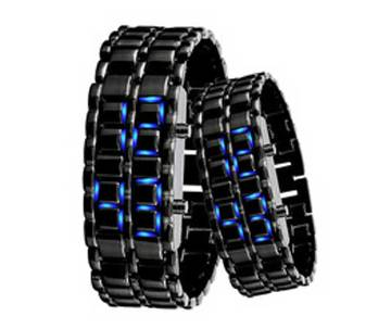 Samurai chain stamp Led faceless watch