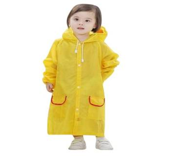 Yellow Oxford Polyester Raincoat for Kids