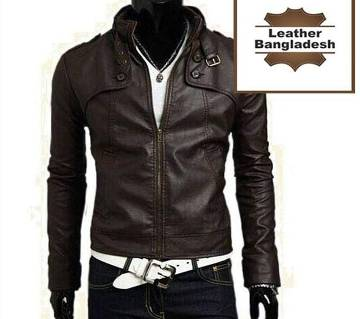 stylish brown color leather jacket for men
