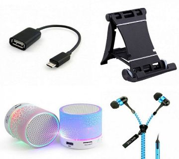 OTG adapter+ Speaker+Mobile Tablet Stand+Zipper Headphone
