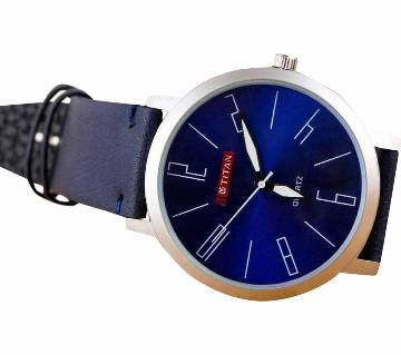 BLUE PU LEATHER ANALOG WATCH FOR MEN