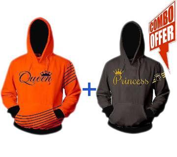 Womens Winter Hoodie  Orange  Queen  FAS +  Womens Winter Hoodie  Grey  Princess  FAS Combo Offer