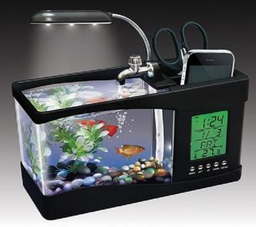 USB Desktop Aquarium and Digital Clock