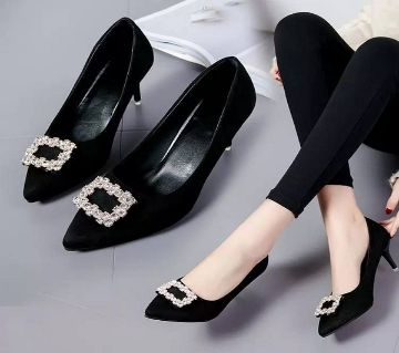 Women Exclusive High Heel with stone- Black Color