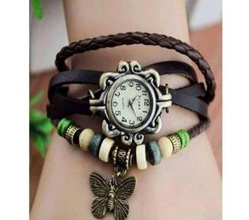 Leather Bracelet And Leaf Pendant Watch  Chocolate