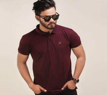 Maron Solid Color Casual Design Half Sleeve Polo Shirt.