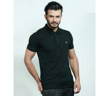 Black Solid Color Casual Design Half Sleeve Polo Shirt for Men