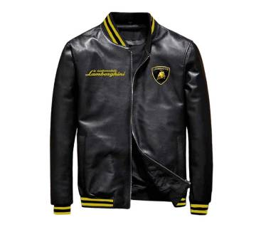 Artificial Leather Casual Jacket For Men-Black.