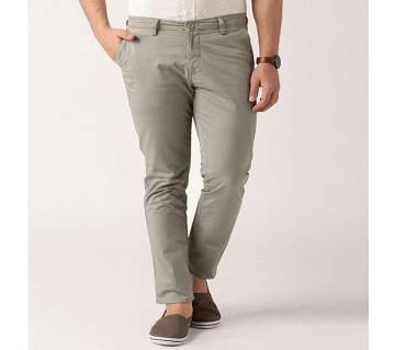 Men Gabardine Chinos Full Pants Slim Fit - Grey