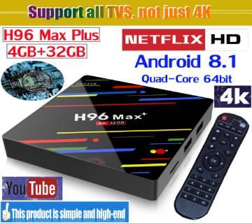 H96 ম্যাক্স প্লাস এন্ড্রয়েড টিভি বক্স RK3328 4GB RAM 32GB ROM Android 8.1 USB3.0 TV Box Soporta HD Netflix 4K Youtube