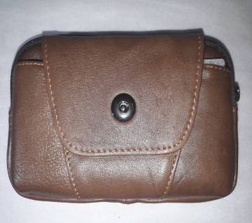 Pockets Push Button Leather Mobile Bag
