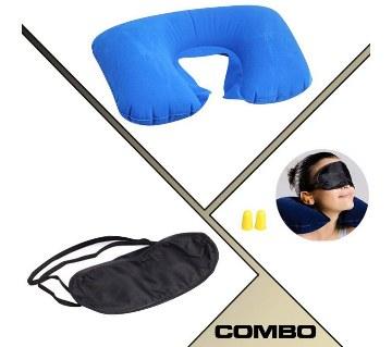 Travel Pillow + Eye Mask + Ear Plug Combo
