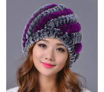 Women Genuine Knitted Rabbit Fur Hats