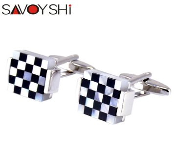 SAVOYSHI Trendy Square Lattice Cufflinks for Mens