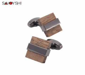 SAVOYSHI Brown Black Mashup Wood Shirt Cufflinks for Mens
