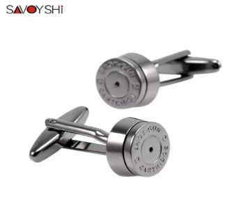SAVOYSHI Novelty Round Bronze Bullet Shirt Cufflinks for Mens