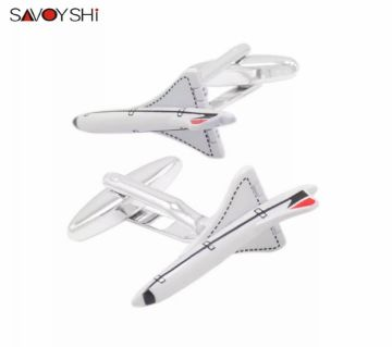 SAVOYSHI White Plane Model Shirt Cufflinks for Mens