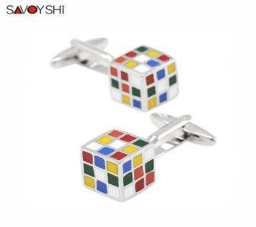 SAVOYSHI Novelty Muti-color Brass Material 3D Magic Cube Design shirt cufflinks for mens