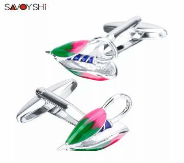 SAVOYSHI Colorful Enamel Fishhook Model Shirt Cufflinks for Mens