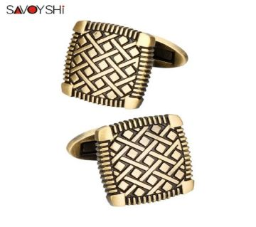 SAVOYSHI Vintage Bronze Metal Shirt Cufflinks for Mens