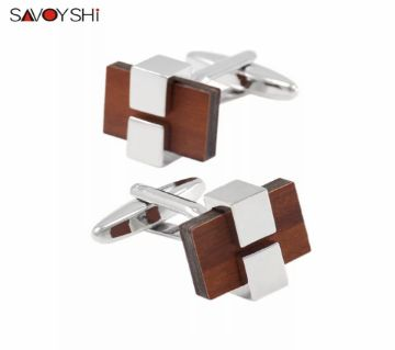 SAVOYSHI Low-key Luxury Wood Shirt Cufflinks for Mens