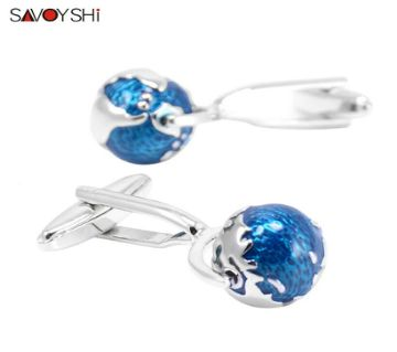 SAVOYSHI Blue Enamel Globe rotate Shirt Cufflinks for Mens