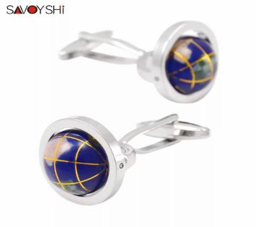 SAVOYSHI Novelty Tellurian Acrylic Moving Globe Modeling shirt cufflinks for mens
