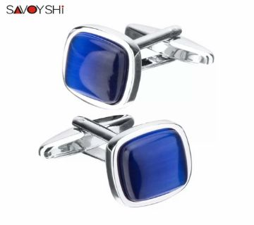 SAVOYSHI Blue Opal Stone Cufflinks for Mens