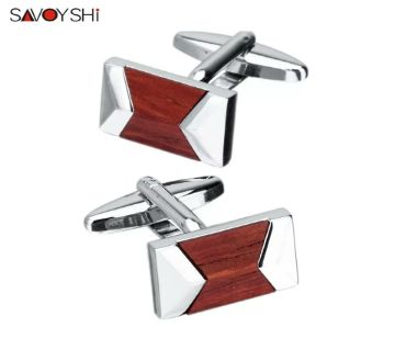 SAVOYSHI Red sandalwood Shirt Cufflinks for Mens