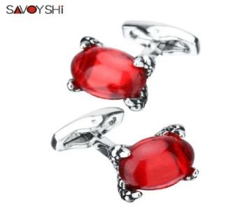 SAVOYSHI Dragon claw Inlay Red Zircon Cuff links for Mens