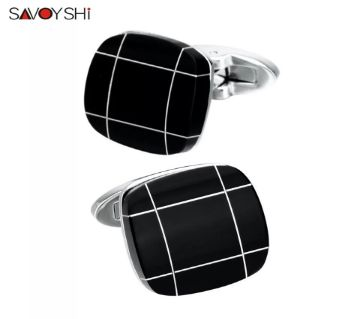 SAVOYSHI Black Stone Cufflinks for Mens