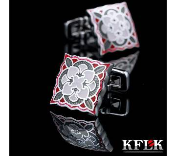 KFLK Red enamel Square shirt cufflinks for mens