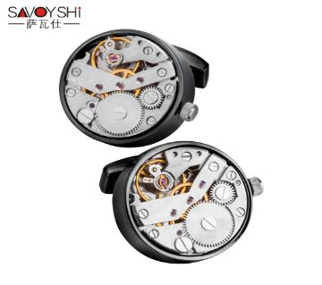 SAVOYSHI Mechanical Watch Movement Shirt Cufflinks for Mens