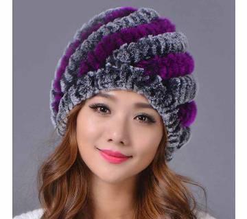 Women Genuine Knitted Rabbit Fur Hats