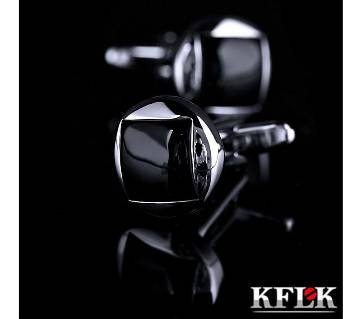 KFLK Brand High Quality Round Black shirt Fashion cufflinks for men