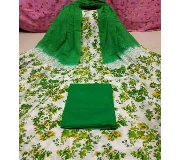 Semi-Stitched Block Printed Cotton Three Piece