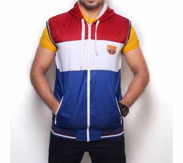 FCB Multicolor Cotton Sleeveless Hoodie For Men