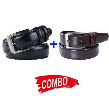 Chocolate Leather Formal Glossy Belt  for Men+Black Leather Formal Glossy Belt  for Men Combo im05