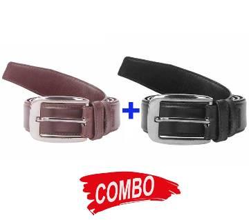 Chocolate Leather Formal Belt  for Men+Black Leather Formal Belt  for Men Combo im06