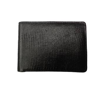 Black Leather Wallet With Multi-chamber Crocodile Texture For Men