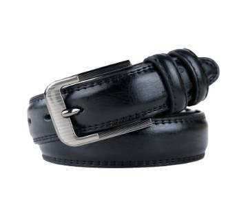 Black Leather Formal Glossy Belt  for Men