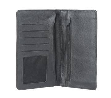 Black Leather Long Wallet Cum Mobile Holder For Men