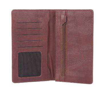 Brown Leather Long Wallet Cum Mobile Holder For Men