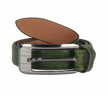 Green Leather Casual Belt  for Men