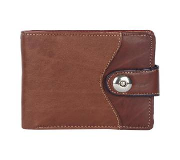Brown Leather Wallet With Magnet Button For Men