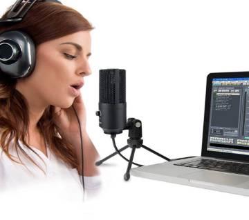 BM-100FX USB পাওয়ারড কন্ডেসার ষ্টুডিও রেকর্ডিং মাইক্রোফোন উইথ নয়েস ক্যান্সেল এন্ড ইকো ইফেক্ট